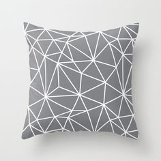 Grey Decorative Throw Pillow Cover Pattern Designer Accent Pillow Bench Cushion Chair Houseware Home Decor Gray Decorative Pillow Covers, Throw Pillow Covers, Decorative Throw Pillows, Water Pillow, Geometric Throws, Geometric Lines, Geometric Pillow, Abstract Lines, Black Throw Pillows