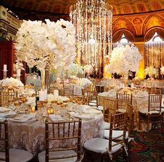 Stunning opulent event design - dripping in orchids from the chandelier to  the centerpieces / At Breakers Palm Beach Florida. Winter Wedding  Centerpieces ...