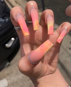 In search for some nail designs and some ideas for your nails? Listed here is our set of must-try coffin acrylic nails for fashionable women. Bling Acrylic Nails, Summer Acrylic Nails, Best Acrylic Nails, Rhinestone Nails, Colored Acrylic Nails, Rhinestone Wedding, Spring Nails, Summer Nails, Glow Nails