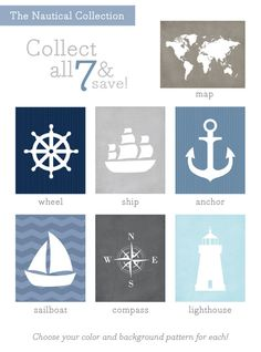 nautical silhouette art prints, $15 each  {customize color and background pattern}