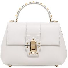 Dolce & Gabbana Women Small Lucia Studded Handle Leather Bag ($2,415) ❤ liked on Polyvore featuring bags, handbags, shoulder bags, purses, borse, white, leather purses, white leather purse, hand bags and leather handbags