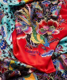 Liberty London Red Paradise Garden Silk Scarf