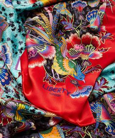 Liberty London Red Paradise Garden Silk Scarf