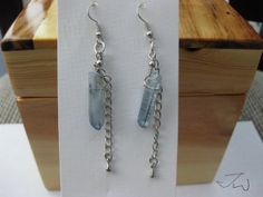 Blue Quartz Crystal Stainless Steel Earrings by JWPersonalShop, $19.99