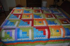 colcha log cabin patchwork