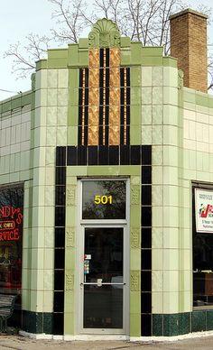 Stunning Art Deco gas station (service station) door surround in Traverse City, Michigan, USA - still in use!
