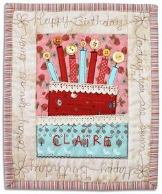 Happy Birthday patchwork card by PatchworkPottery's
