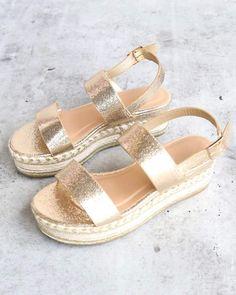 8f3242829b8 Gold Glitter Single Band Espadrilles Platform Sandal with Ankle Strap