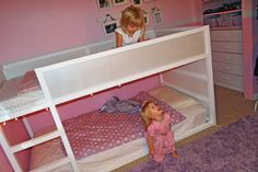 Love this makeover of inexpensive (and low!) bunk beds.