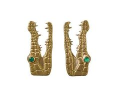 Marc Alary | Yellow Gold Crocodile Earrings with Emeralds in Earrings Studs at TWISTonline