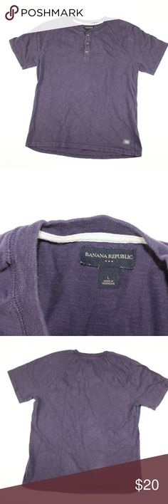 Banana Republic Short Sleeve Henley Shirt Purple Banana Republic Henley Shirt  Shirt  Comes from a smoke-free household  The size is Large and the measurements are 21 inches pit to pit and 27 inches shoulder to base.  Purple  Cotton  Check out my other items in my store!  L1 Banana Republic Shirts Tees - Short Sleeve