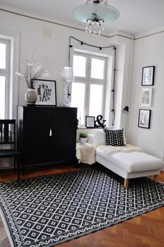 Black and white sitting area. Reading corner. Great for a study or bedroom....