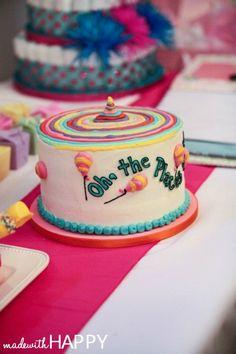 Oh, the places you'll go baby shower | Dr. Seuss baby shower idea | Oh the places you'll go cake | Baby shower ideas | Pink Travel Baby Shower | www.madewithhappy.com