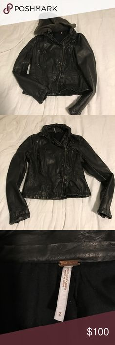 Free People Vegan Leather Jacket w/ Hood no defects & no trades 💘 has removable hood and only been worn a few times! Free People Jackets & Coats