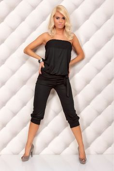 hot women | NEW Black Sexy Jumpsuit Women Romper Strapless Babydoll 3 4 Pants ...
