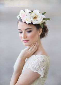 flower crown bridal headpiece cream floral crown by thehoneycomb Ivory Wedding Flowers, Floral Wedding Hair, Flower Crown Wedding, Floral Hair, Floral Crown, Bridal Crown, Flower Crowns, Headpiece Wedding, Bridal Headpieces