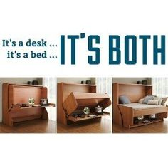 Desk that converts into a bed! Now this is a cool hidden / murphy bed solution. I could see using this in the spare room.