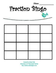 A Bingo Game Printable for your students. The students cut and paste the fraction pictures to create individualized Game Boards. Includes Bingo Calling Cards for the teacher. Could also be used for a math center. 3rd Grade Fractions, Third Grade Math, Math Fractions, Maths, Grade 3, Classroom Freebies, Math Classroom, Classroom Ideas, Fraction Bingo