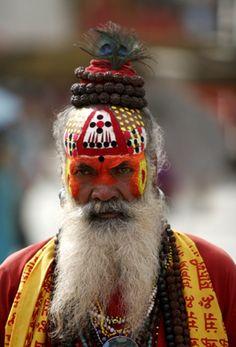 A Hindu fakir is seen on Indra Jatra festival at Basantipur Durbar Sq. in Kathmandu, Nepal (2009)