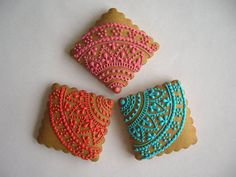 Delightful Cookie Icing for Your Sweet Tooth : Henna And Lace Cookies Lace Cookies, Cupcake Cookies, Sugar Cookies, Crazy Cookies, Cookie Icing, Royal Icing Cookies, Indian Wedding Cakes, Indian Weddings, Making Sweets