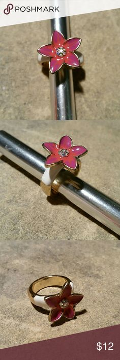 """Pink & Purple Flower with Crystals Enamel Ring NEW New, never worn. Sweet & sexy enameled flower  flower, bright salmon pink and purple, with a cluster of aurora borealis (rainbow sheen) crystal rhinestones in the center, all bordered in shiny gold. The top edges of the ring band are white enamel. Looks designer, I don't know who, a high quality costume jewelry ring. .75"""" across.   Matching Flower & Lady Bug ring available in my closet!  Thank you for visiting my closet, and happy poshing…"""