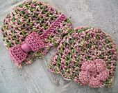 Spring hat twin set for baby girls -  newborn - ready to ship