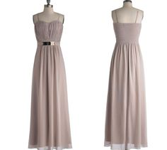 Bridesmaid Dress,Floor-length A-line Chiffon Bridesmaid Dress with Gold Belt