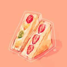 Embedded image Sandwich Drawing, Cute Art, Pretty Art, Cute Cartoon Food, Fruit Cartoon, Aesthetic Art, Food Art, Art Inspo, Fruit Illustration