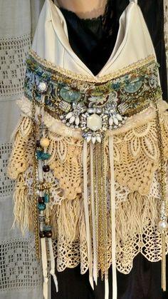 Handmade Ivory Leather Vintage Lace Shoulder Bag Hippie Fringe Purse tmyers  #Handmade #ShoulderBag