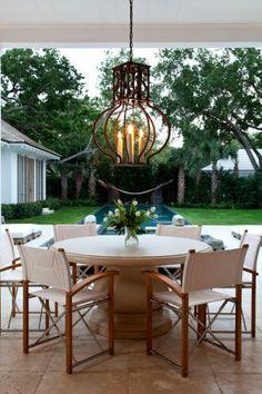 Outdoor Living. Director's chairs. Paul Ferrante light fixture. Designer: Gauthier-Stacy.