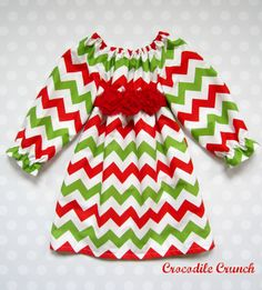 Red and Green Chevron Christmas Dress for Girls and Baby Girls - Christmas Chevron Dress by Crocodile Crunch