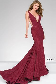 Wine Fitted Plunging Neckline Prom Dress 47075