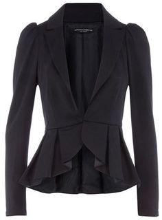 Navy peplum ponte jacket - Fashion Madame