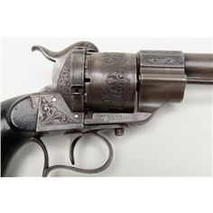 Pair of single action style of 1859, 11 mm pinfire revolvers engraved