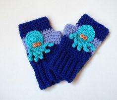 Fingerless Blue Octopus Gloves, Fingerless Creature of the Deep Gloves.