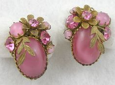 DeMario Pink Glass Moonstone Earrings! New favorite thing: Moonstone...all colors!