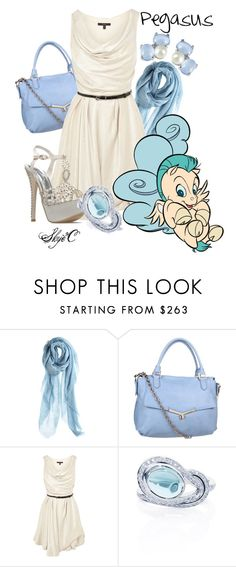 """""""Pegasus Inspired Outfit"""" by rubytyra ❤ liked on Polyvore featuring Luisa Brini, Botkier, Coast, Disney, ShoeDazzle, white, inspired, ring, scarf and dress"""