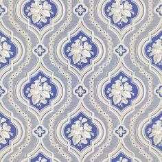 Hildasro by Sandberg - Blue - Wallpaper : Wallpaper Direct Textiles, Textile Prints, Swedish Wallpaper, Antique Keys, Ceiling Medallions, Blue Wallpapers, Beautiful Wall, Fabric Wallpaper, Designer Wallpaper