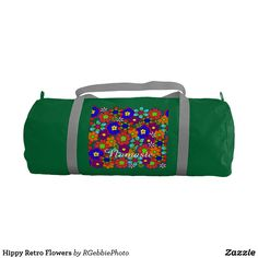 Hippy Retro Flowers Gym Bag - $49.95 - Hippy Retro Flowers Gym Bag - by #RGebbiePhoto @ #zazzle - #Hippy #Retro #Flowers - Colorful retro style flowers, hippy style in bright colors! Large petal flowers in a jumbled assortment. 70s Hippy look, great throwback item!