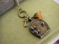 The Hobbit Inspired Bilbo Baggins home in the Shire locket door Gift for Hobbit Fan.