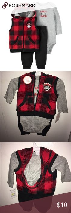 3 Piece Daddy's Rascal NewBorn Set New with tags. Received at baby shower. Never worn. Red Black and Gray. Matching Sets