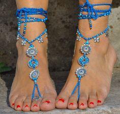 White BRIDAL BAREFOOT sandals WHITE Beach wedding kundalini Crochet