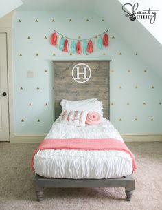 DIY Twin Bed by Shanty2Chic, such a great headboard with this Chic White bedding!  And it zips!