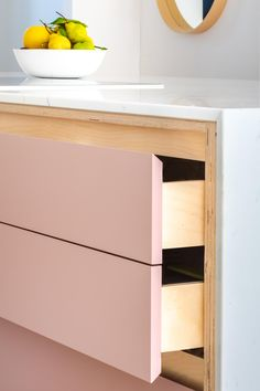 Handcrafted solidwood kitchens in Bristol made from sustainable materials and processes.   Plywood Kitchen  Birch Plywood Kitchen Pink Kitchen  Farrow and Ball Sulking Room Pink Reclaimed Wood Kitchen, Plywood Kitchen, Plywood Cabinets, Loft Kitchen, Contemporary Kitchen Cabinets, Kitchen Cabinetry, Modern Cabin Decor, Open Plan Kitchen Dining Living, White Shaker Kitchen