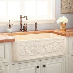 Buy the Signature Hardware 420780 Cream Egyptian Direct. Shop for the Signature Hardware 420780 Cream Egyptian Vine Design Single Basin Polished Marble Farmhouse Sink and save. Stainless Steel Farmhouse Sink, Classic Kitchen, New Kitchen, Kitchen Ideas, Kitchen Designs, Farm Sink Kitchen, Kitchen Islands, Kitchen Inspiration, Dream Homes