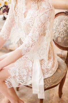 This exquisite lace bridal robe by Girl With a Serious Dream could be yours! Head to http://bridalmusings.com/giveaways to enter this amazing giveaway.