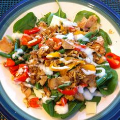 Spinach, egg, cheese, bell peppers, french beans, turkey, pepper, low fat/cal bleu cheese yogurt dressing