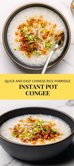Absolutely delicious and quick to make! Try this easy Instant Pot Congee recipe. This Chinese rice porridge is cooked in chicken broth and serve savory toppings. A tasty breakfast dish, absolutely gluten-free! #instantpot #Instantpotrecipes #congee #riceporridge #porridge #pressurecookercongee #chineserecipes #chinesecongee #breastfast #ricedish