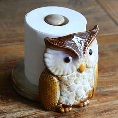 Ceramic Cartoon Owl Paper Rack Kitchen Decoration Supplies Kitchen Tissue Holder Household Roll Paper Stand Kitchen Tool