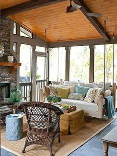 Quaint porch. Great swing.